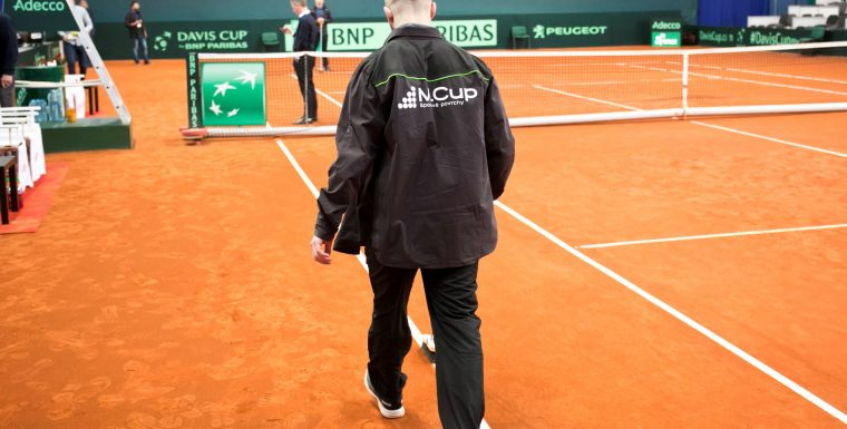 New red clay tennis court ready for the Davis Cup